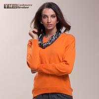 2014秋冬新款女士V领落肩袖小燕尾毛衣100%纯山羊绒衫