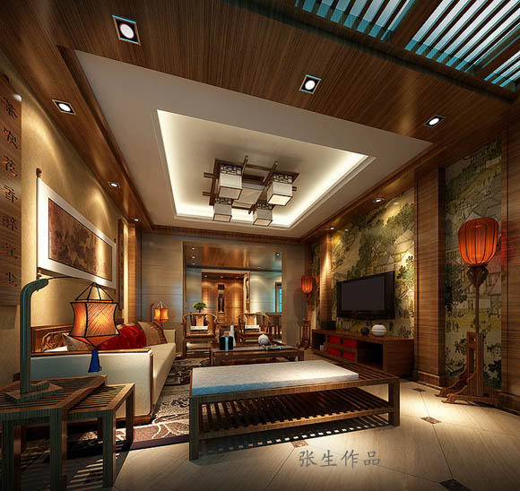 业之峰龙城1号200平米新中式风格客厅设计装修效果图