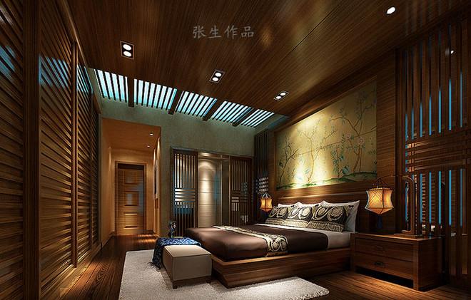 业之峰龙城1号200平米新中式风格卧室装修设计案例/效果图