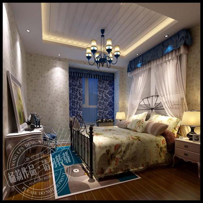 田园风格卧室设计效果图-105平米田园风格样板间案例高清图片