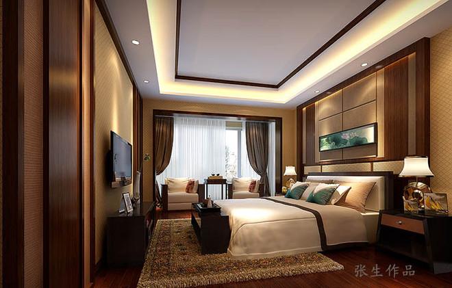 业之峰装饰公司新中式风格卧室设计效果图