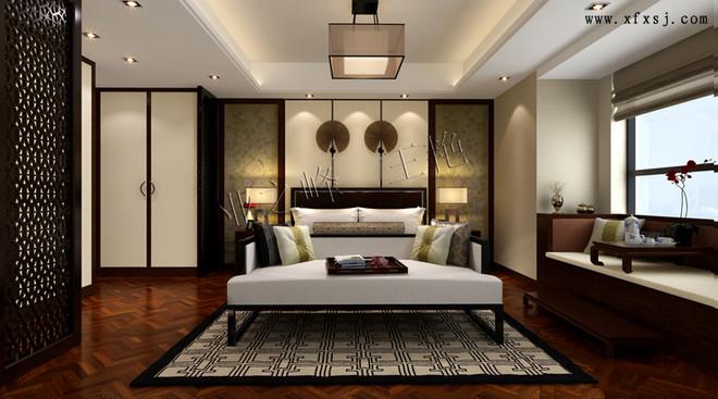 新中式风格卧室装修设计效果图-中海金沙府175平新中式风格装修案例高清图片