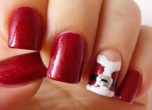 圣诞节指甲彩绘:红火火的圣诞老人的外袍(图片+双语)