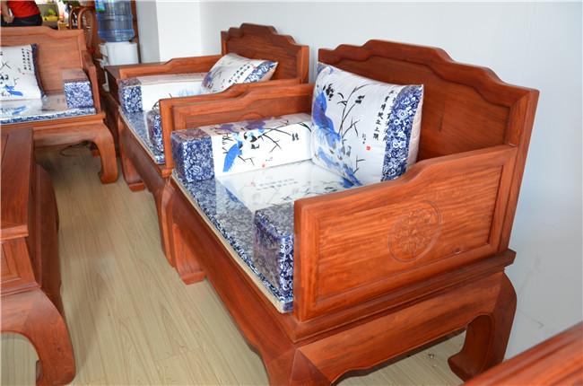 缅甸花梨木罗汉沙发7件套(实物8图)