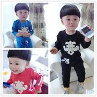 2014秋季新款韩版童装 童套装  克罗星纯色纯棉套装