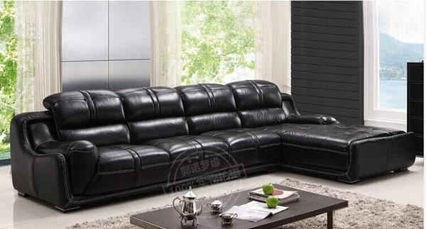 皮艺中小户型客厅现代简约转角组合欧式皮沙发