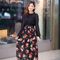 实拍新款春装雪纺气质淑女印花长袖连衣裙 (共二色)