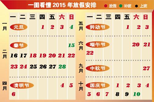 2015年放假安排時間表