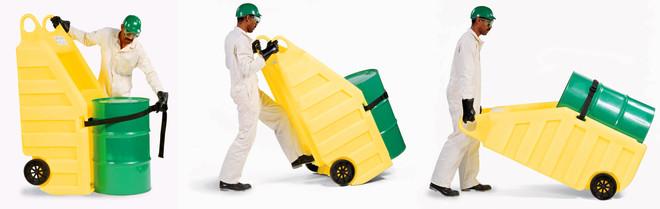 2.ENPAC防泄漏转运分装车盛漏转运分装两用车防泄漏转运分装两用车油桶防泄漏转运车 基本特点: 用途:防泄漏转运分装两用车是一种便捷、环保的转运和盛漏的两用车,专业用于油桶或其它化工原料桶的防泄漏搬运与转移。既可作为化工圆桶的转运工具,又可防止在转运或分装的过程中泄漏危害的发生,是专业的化学品储存桶防泄漏危害的搬运工具; 适用对象:U型圆桶弧面平台设计,适用于55加仑包装储运桶; 材质性能:100%聚乙烯提供最大的耐腐蚀性和防漏保护,确保经久耐用; 松紧带:化工原料桶搁置在盛漏转运车之后,