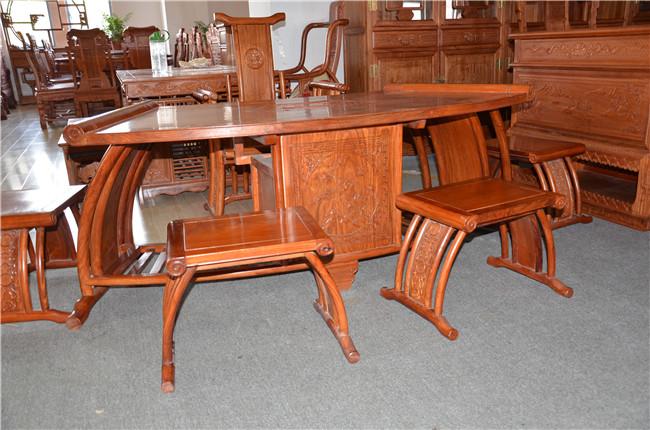 公司产品 博古架茶桌系列 非洲花梨木 花梨木扇形茶桌6件套  正品销售