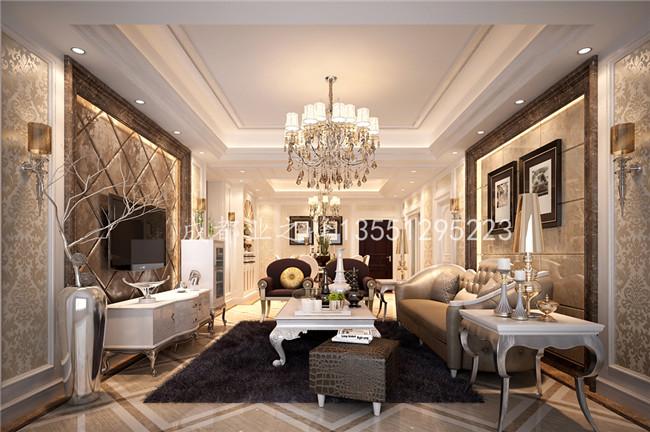 效果图: 整个客厅整体设计上运用墙纸
