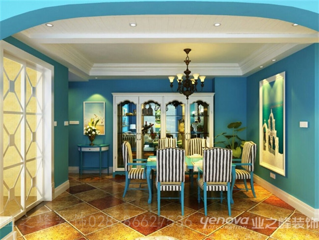 修 地中海风格效果图 餐厅完整展现,挂画、餐桌、铁艺花瓶,全部高清图片